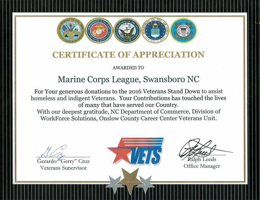 Of appreciation for veterans stand down certificate of appreciation for veterans stand down yadclub Image collections
